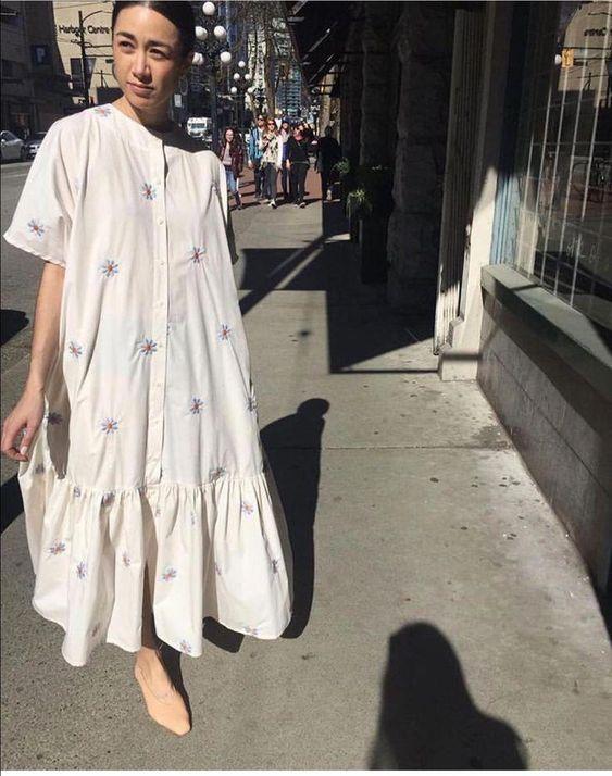 plain white dress | drop waist embroidery ruffled hem cotton button front | Girlfriend is Better