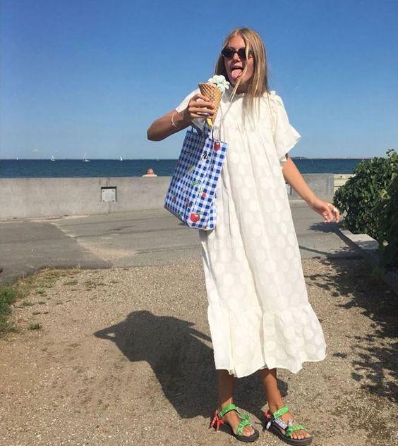 plain white dress | muumuu beach coverup shopping tote neon Teva sandals polka dot | Girlfriend is Better