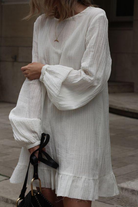plain white dress | 70s mini unfinished hem bishops sleeves | Girlfriend is Better