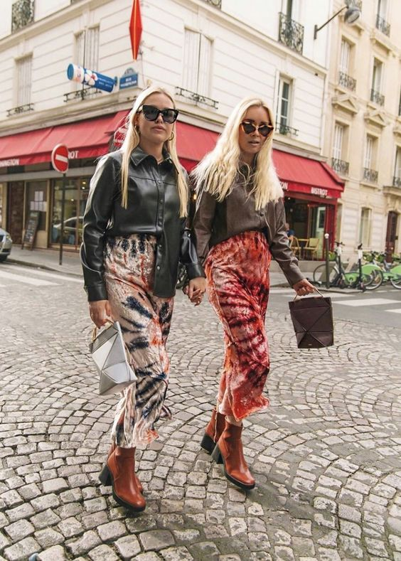 tie dye | midi skirts street style leather jacket ankle boots | Girlfriend is Better