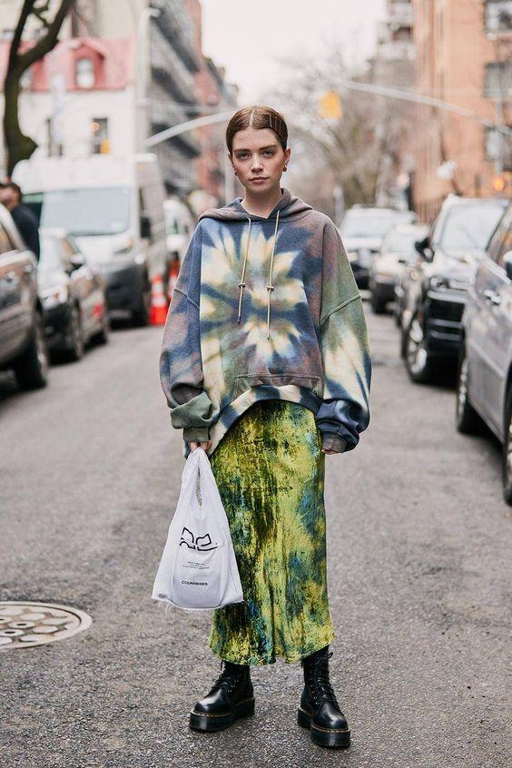 tie dye | print mixing dropped shoulder seams midi skirt hoodie oversized sweatshirt | Girlfriend is Better