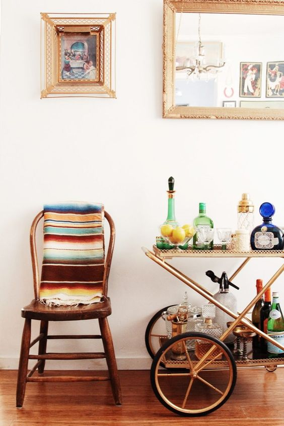 bar cart styling | Bohemian decor Cinco de Mayo | Girlfriend is Better
