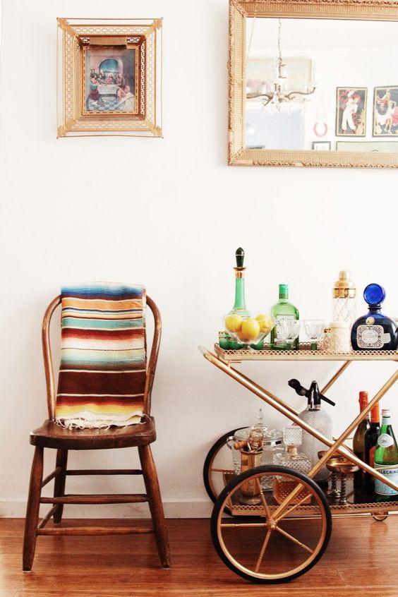 bar cart styling | Bohemian decor Cinco de Mayo | Girlfriend is Better