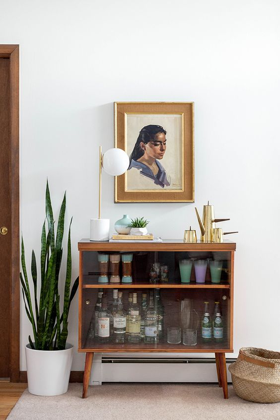 bar cart styling | mid-century modern cabinet portrait random person mixers | Girlfriend is Better