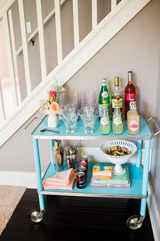bar cart styling | blue rolling mixer glassware party snacks hostess | Girlfriend is Better