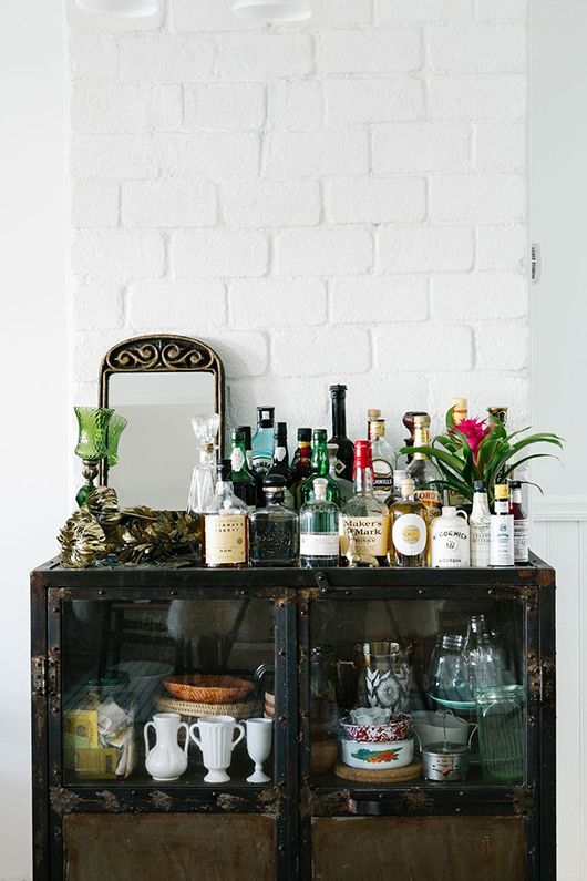bar cart styling | vintage Bohemian eclectic Spanish style mirror bitters liquor | Girlfriend is Better