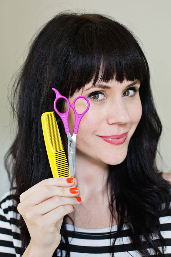 home beauty tips | cutting bangs trimming DIY hair comb scissors tutorial | Girlfriend is Better