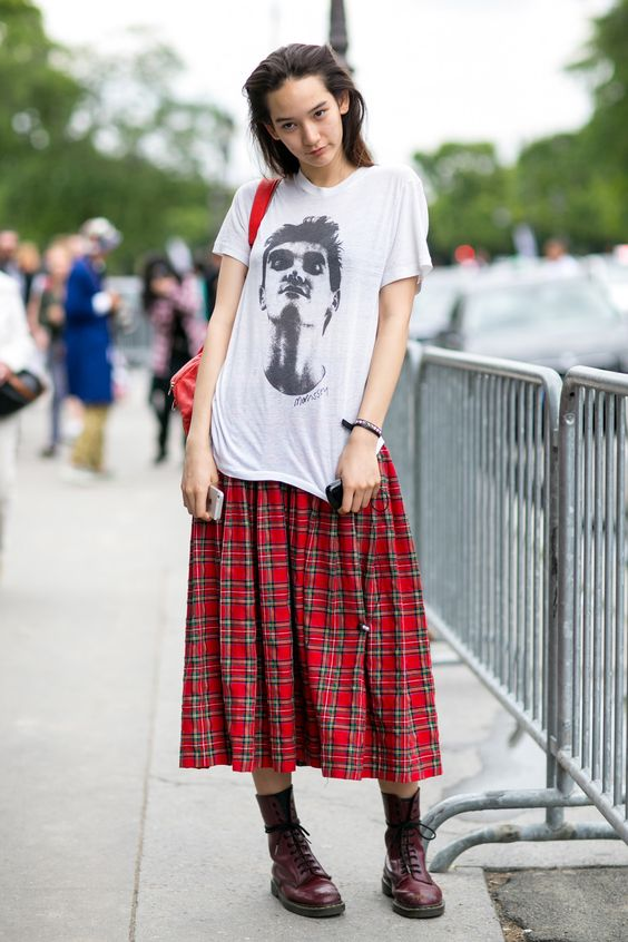oversized graphic tees   plaid mid-length skirt boots modern grunge   Girlfriend is Better