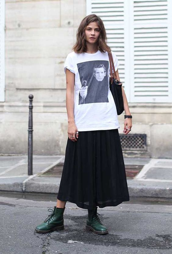 oversized graphic tees | new wave modern grunge green Dr. Martens midi skirt | Girlfriend is Better