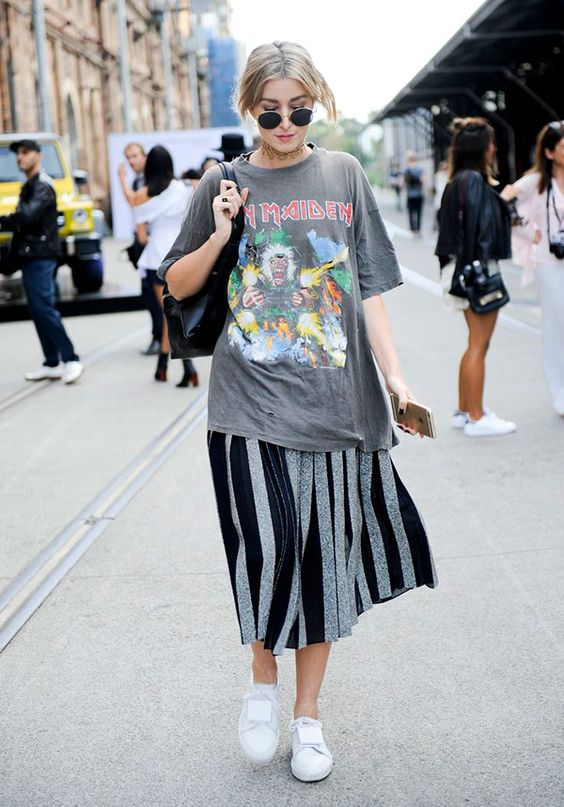 oversized graphic tees | Iron Maiden vintage tee shirt striped pleated mid-length skirt white tennis shoes | Girlfriend is Better
