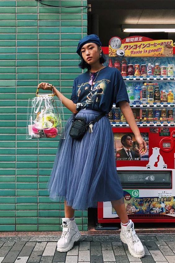 oversized graphic tees | midi skirt white tennis shoes beret see-through purse | Girlfriend is Better