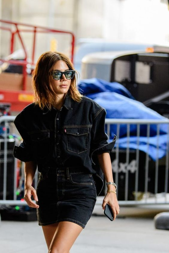 oversized menswear | denim work shirt mini skirt street style | Girlfriend is Better