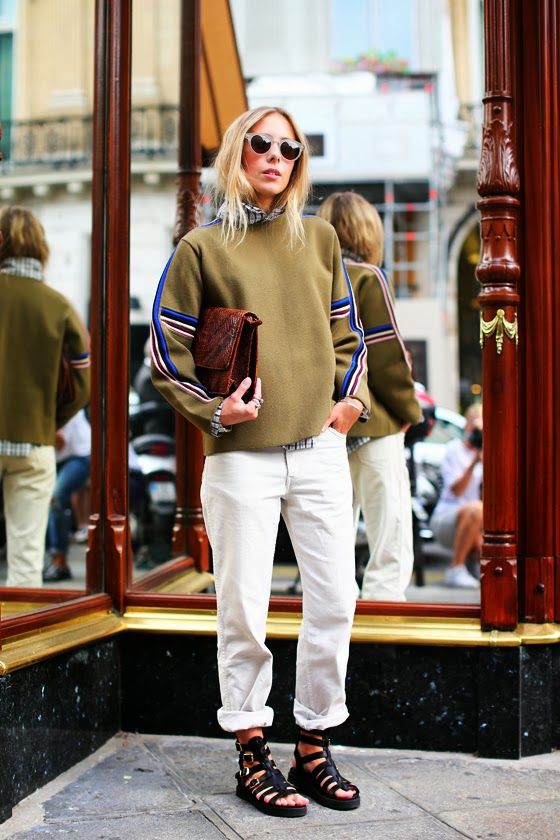 oversized menswear | dropped shoulder seams athletic sweater preppy street style leather clutch | Girlfriend is Better