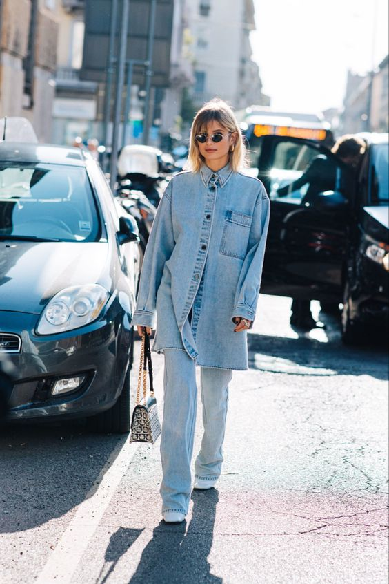 oversized menswear | chambray button up blouse denim Canadian tuxedo street style | Girlfriend is Better