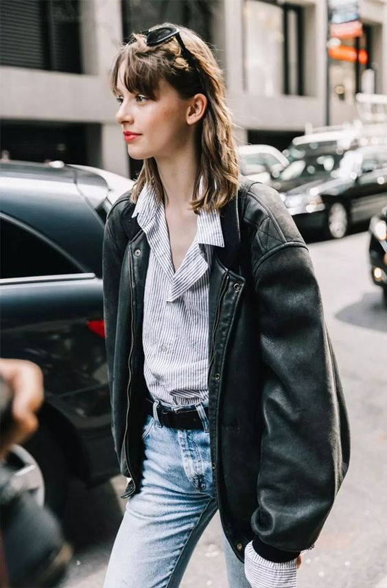 oversized menswear | leather jacket chambray button up blouse denim jeans business casual French girl cool | Girlfriend is Better