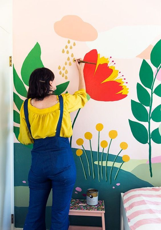 painting murals   hand painted floral bedroom   Girlfriend is Better
