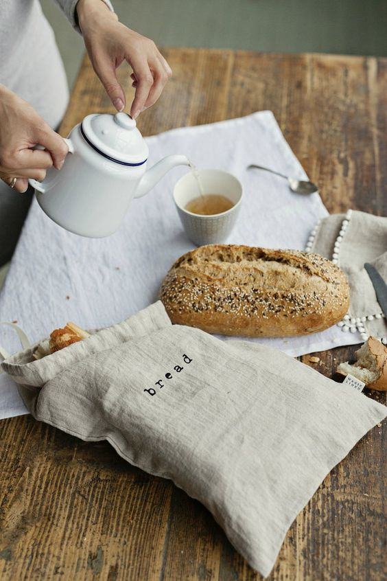 sustainable kitchen products | linen bread bag washable reusable | Girlfriend is Better