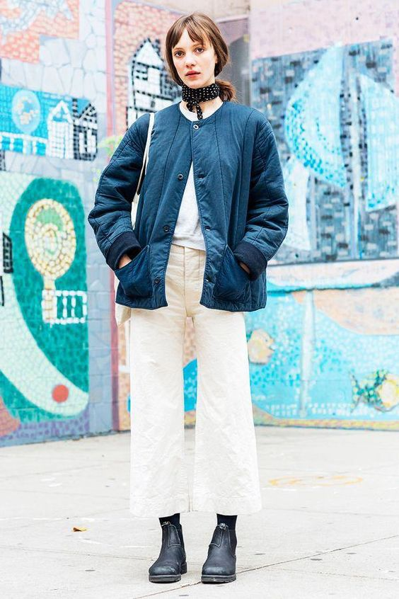 workman style | culotte wide-leg pants structured boxy jacket denim neck scarf | Girlfriend is Better