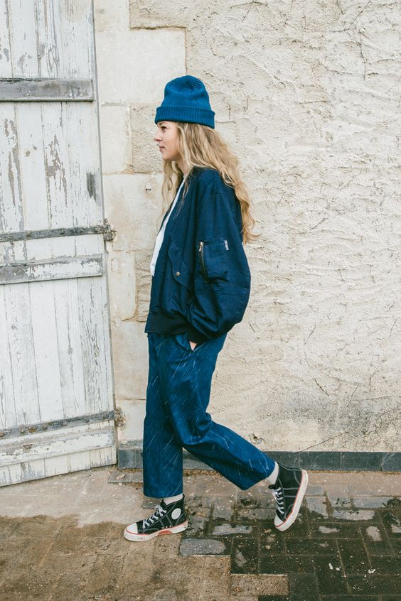workman style | high-water jeans navy blue jacket beanie layering denim blue collar | Girlfriend is Better