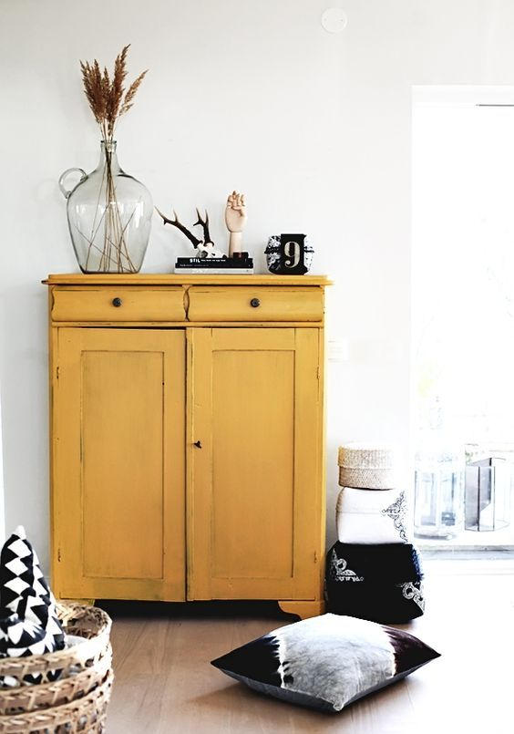 yellow home decor | earth element bar cabinet organization hygge | Girlfriend is Better