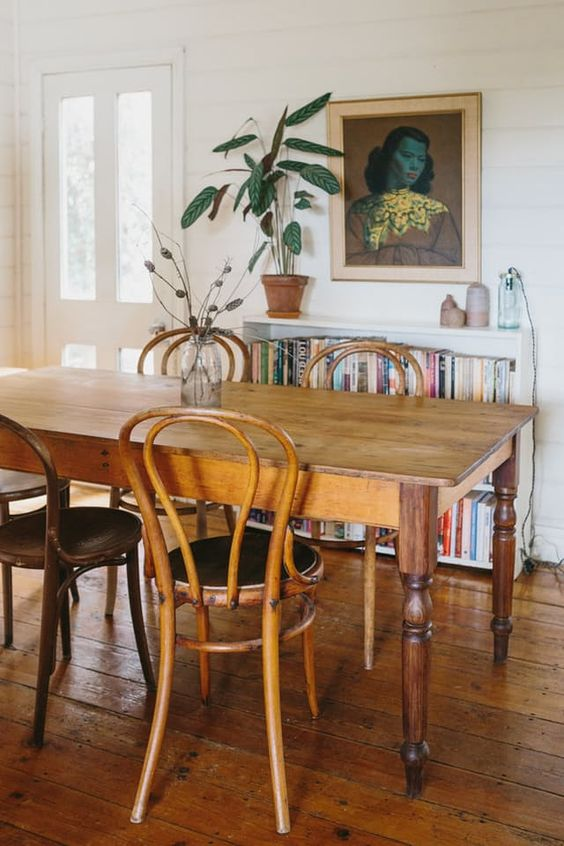 bentwood chairs | French country dining room bookshelf vintage portrait random person | Girlfriend is Better