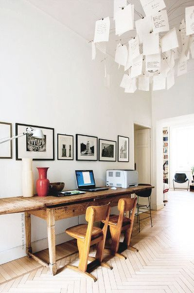 creative home office | vintage school chairs shared desk gallery wall | Girlfriend is Better