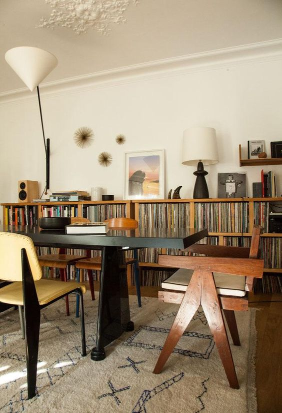 creative home office | dining room shared space library bookshelves record player vinyl collection | Girlfriend is Better