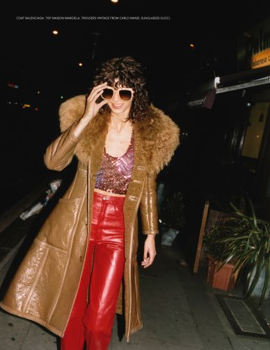 jewel tones | ruby leather pants full-length coat fur collar sunglasses | Girlfriend is Better