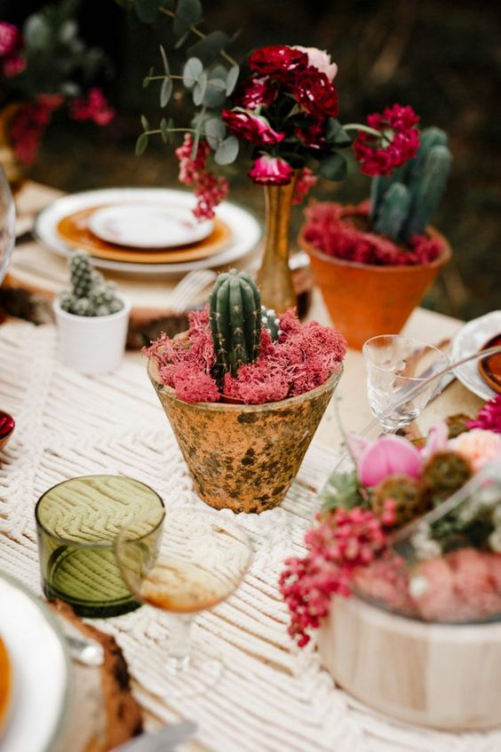 table settings Bohemian eclectic | cactus centerpiece colored glassware outdoor entertainment | Girlfriend is Better