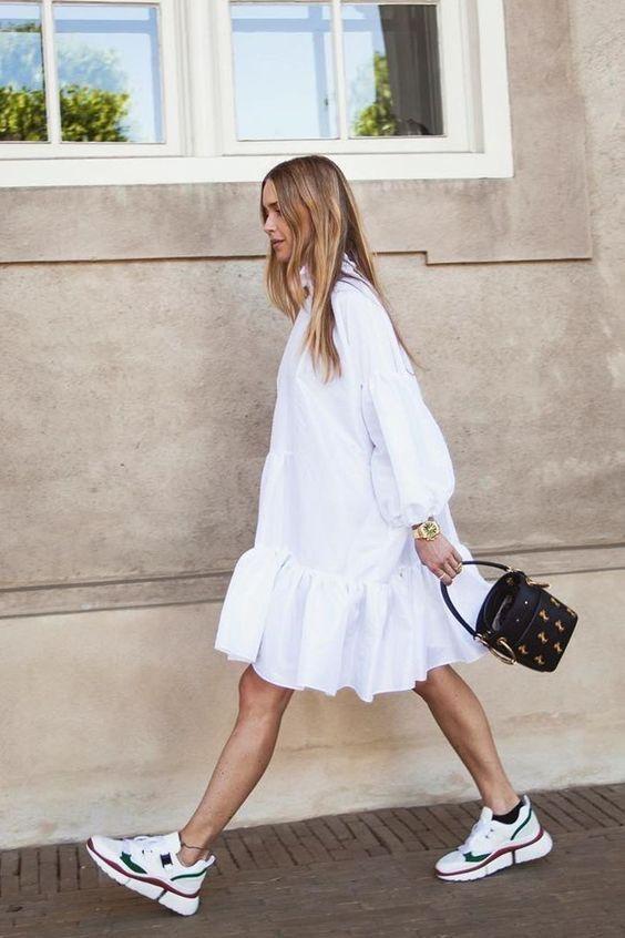 voluminous dresses | plain white cotton ruffles drop hem balloon sleeves top handle purse | Girlfriend is Better