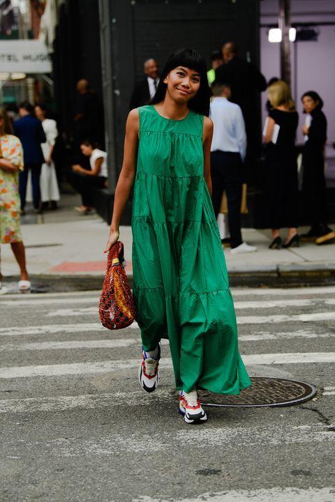 voluminous dresses | kelly green maxi muumuu sleeveless summer street style | Girlfriend is Better