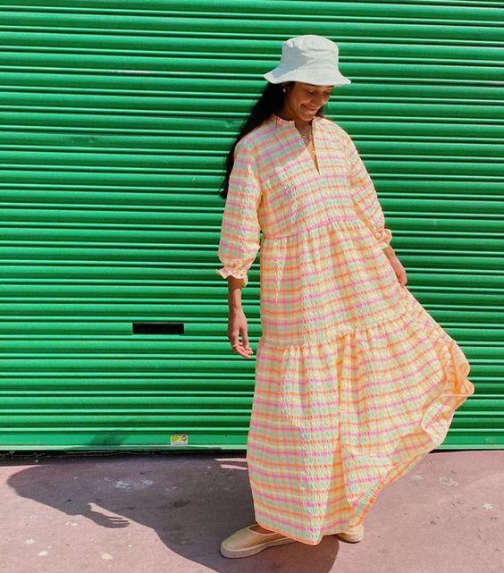voluminous dresses | summer fashion plaid yellow tiered hem balloon sleeves bucket hat | Girlfriend is Better