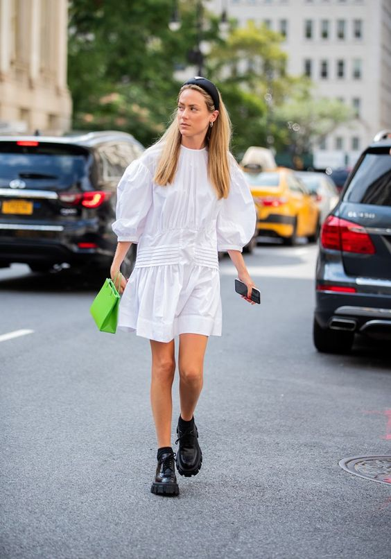 voluminous dresses | plain white drop waist puff balloon sleeves black boots thick soles street style | Girlfriend is Better