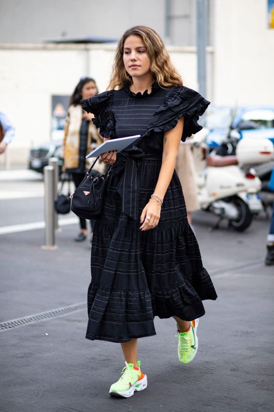 voluminous dresses | neon green tennis shoes black ruffles tiered hem ruffles summer fashion | Girlfriend is Better