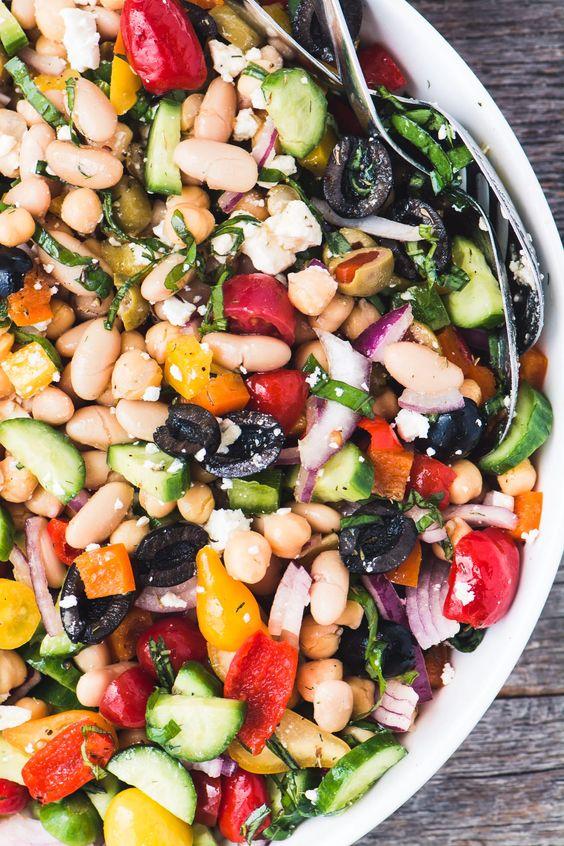 July seasonal vegetables   mediterranean bean salad healthy recipe   Girlfriend is Better