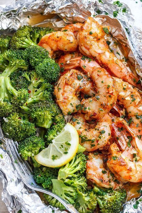 July seasonal vegetables | Baked Shrimp Broccoli Lemon Butter Foil Garlic recipe | Girlfriend is Better