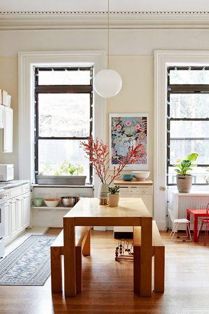 bench seating   hygge kitchen wood table rectangle   Girlfriend is Better