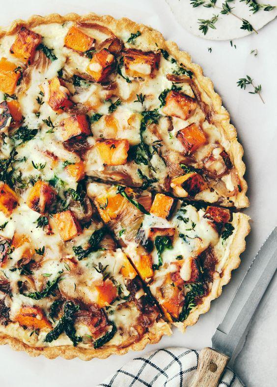 September seasonal vegetables | butternut squash onion cheese quiche recipe | Girlfriend is Better