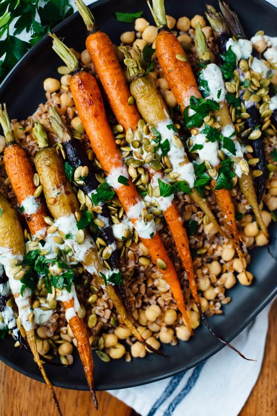 September seasonal vegetables | Roasted carrots farro chickpeas vegetarian recipe | Girlfriend is Better