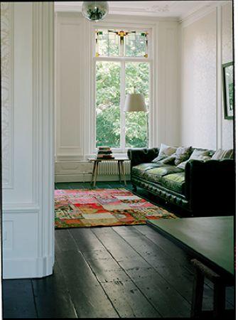 black floors | dark wood flooring stained glass minimalism | Girlfriend is Better