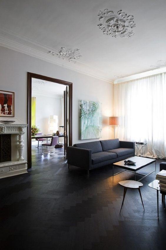 black floors | herringbone wood floors dark French country living room | Girlfriend is Better