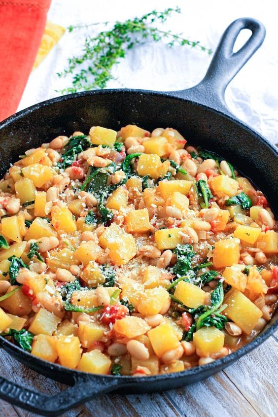 November seasonal vegetables | winter squash white bean spinach skillet recipe healthy | Girlfriend is Better