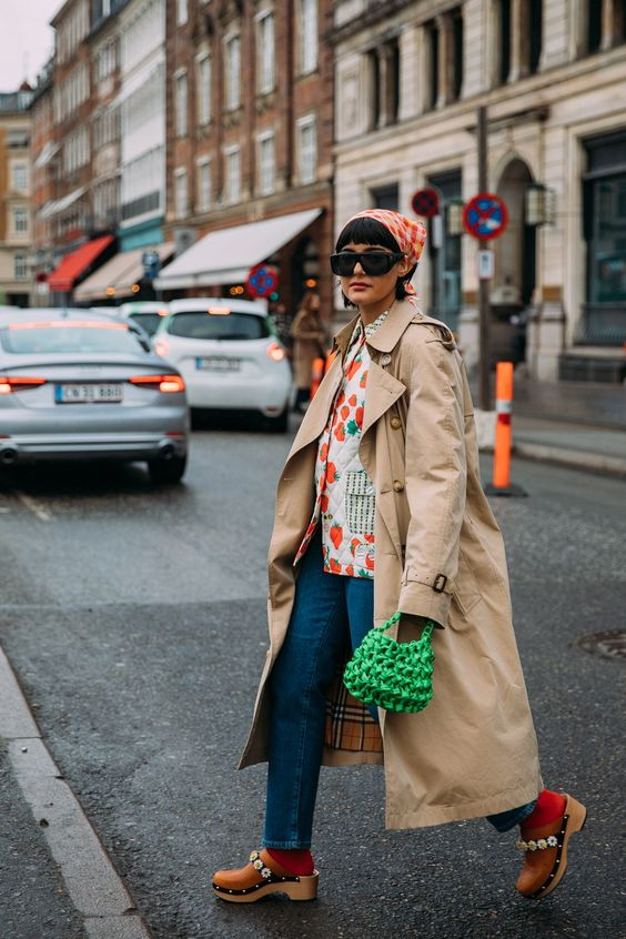 oversized trench coats   street style clogs bandanna vintage   Girlfriend is Better