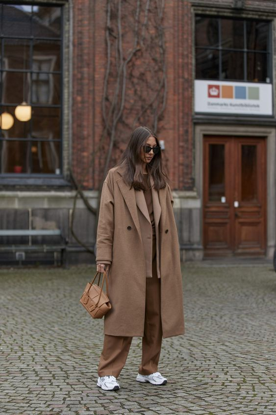oversized trench coats | monochromatic double-breasted blazer menswear work wear tennis shoes | Girlfriend is Better