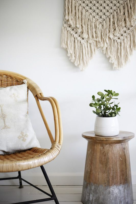 plant minimalism | Bohemian macrame wall hanging jade succulent bamboo chair | Girlfriend is Better