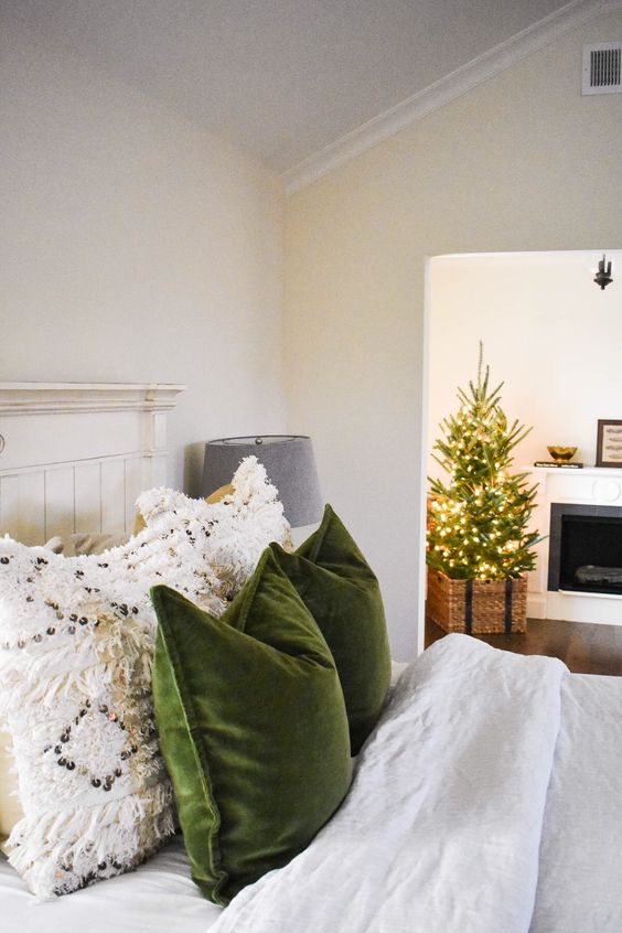cozy Christmas | bedroom green velvet throw pillows macrame white | Girlfriend is Better