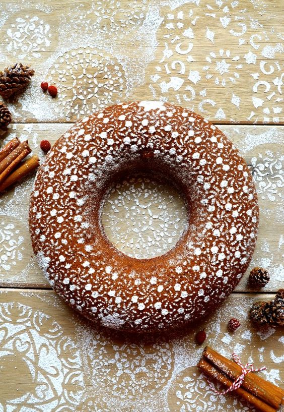cozy Christmas | gingerbread bundt cake cinnamon lace decorated confectioner sugar holiday recipes | Girlfriend is Better