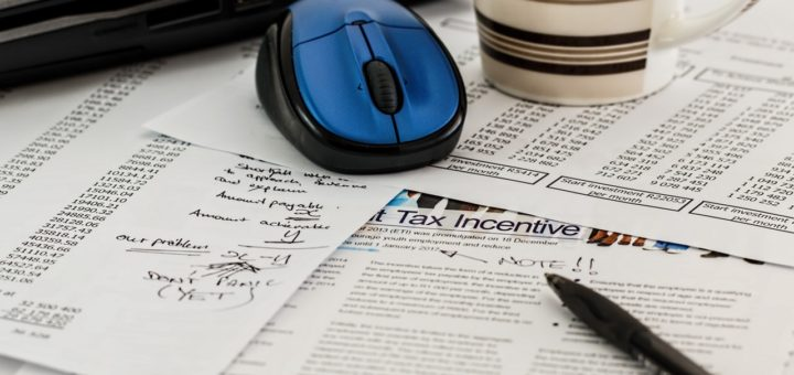 Tax forms on a desk