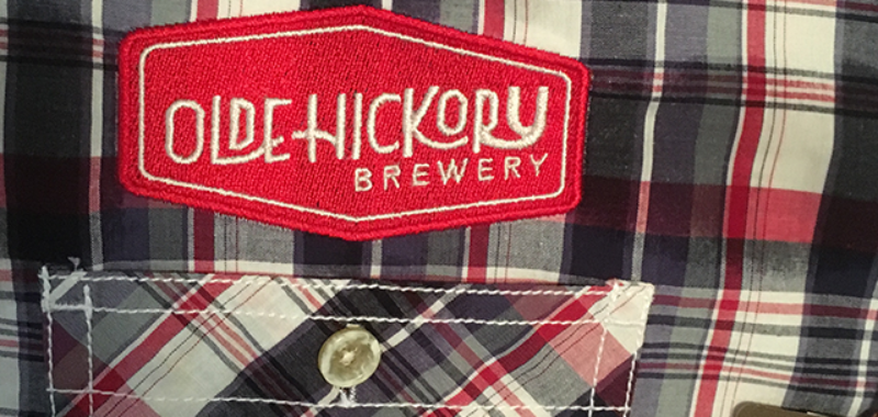 embroidery bluelime grafx produced on shirts for old hickory brewery in hickory north carolina