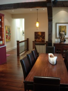 Alt text: dining room & stair case